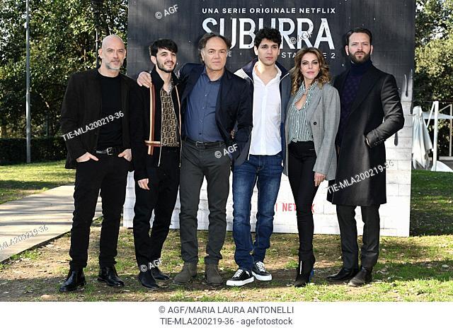 Filippo Nigro, Giacomo Ferrara, Francesco Acquaroli, Eduardo Valdarnini, Claudia Gerini, Alessandro Borghi during photocall of the second season of Italian...
