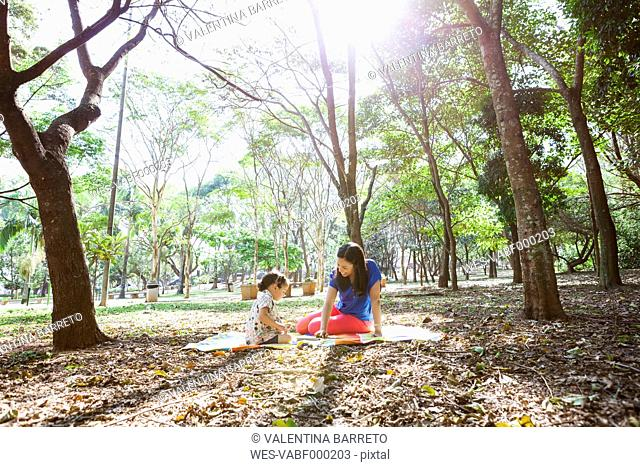 Mother and daughter sitting on a blanket in the park playing together