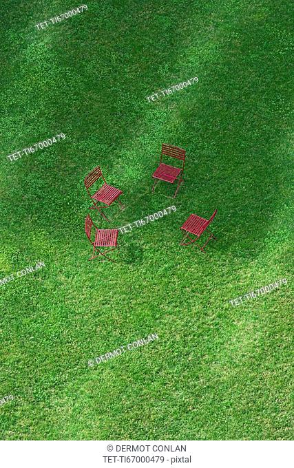 Massachusetts, Boston, High angle view of empty chairs on grass on Rose Kennedy Greenway