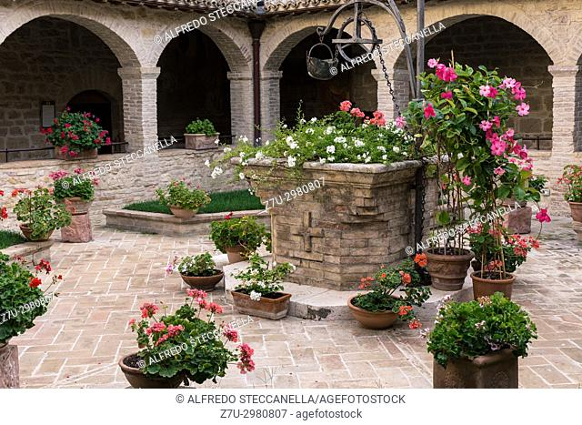 View of a cloister of an ancient Franciscan convent in assisi