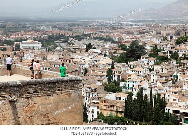 Panoramic view of the Albaicin quarter from the Alhambra, Granada, Andalusia, Spain