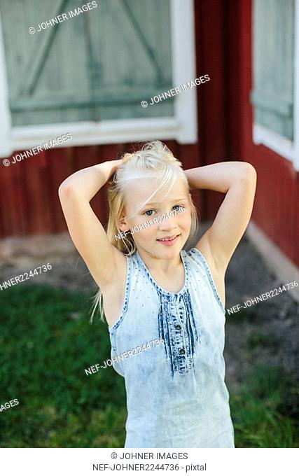 Smiling girl looking at camera
