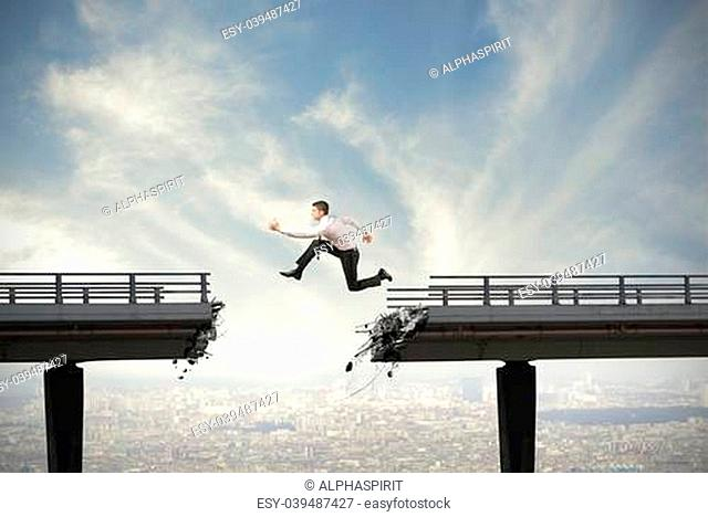 Businessman and overcome the difficulties concept