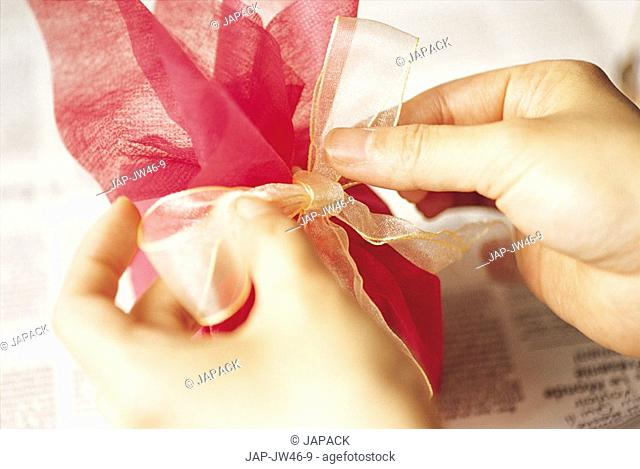 Gift wraped box with hearts