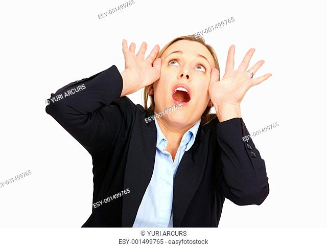 Portrait of worried business woman scared and looking upwards on white background