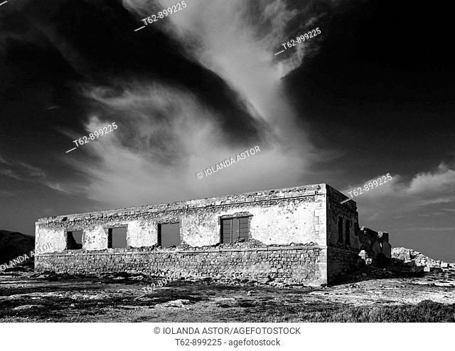 The dilapidated building in Escullos  Punta del Esparto  Parque Natural de Cabo de Gata, Almeria, Andalusia, Spain
