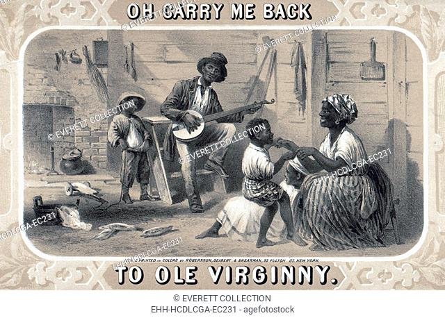 Tobacco package label showing African American banjo player, woman, and children in cabin. Original title: 'Oh carry me back to ole Virginny', by Robertson