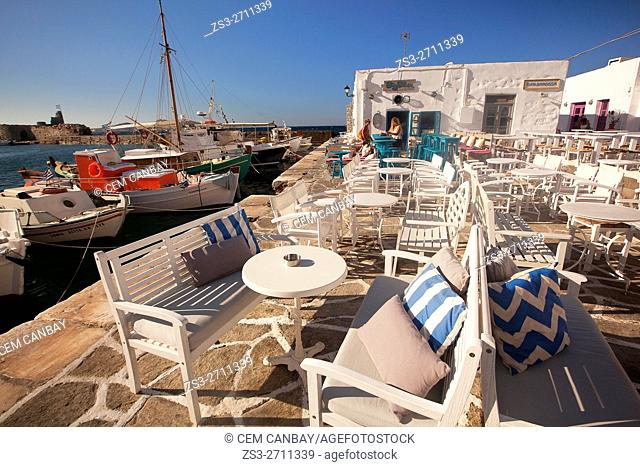 View to the open-air restaurants near the port, Naoussa, Paros, Cyclades Islands, Greek Islands, Greece, Europe