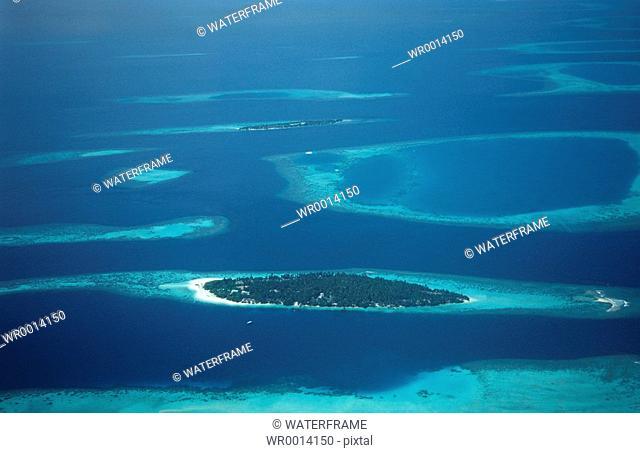 Aerial view Maldives Islands, Indian Ocean, Maldives Island
