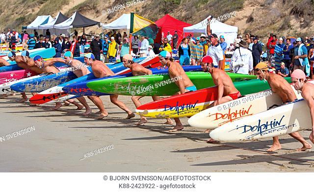 Surf lifesaver races. Surfcoast, Victoria, Australia