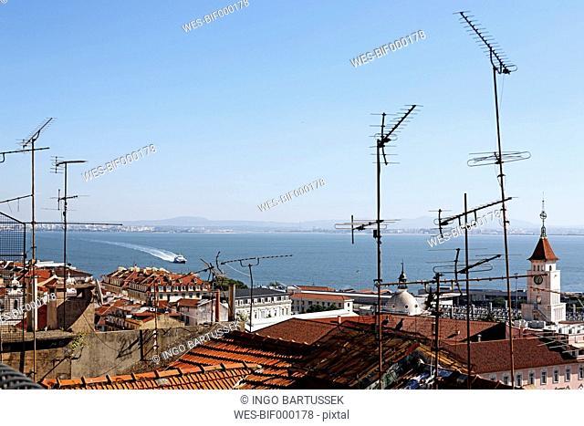 Portugal, Lisbon, Bica, View from Miradouro de Santa Catarina to Tejo