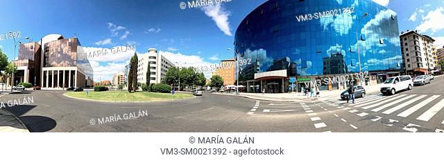 Modern buildings in Reyes Leoneses avenue, panoramic view. Leon, Spain