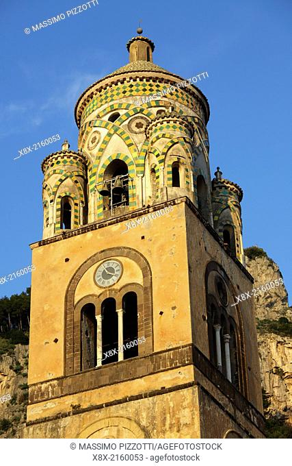 The belfry of Amalfi Cathedral in Piazza Duomo, Amalfi, Italy