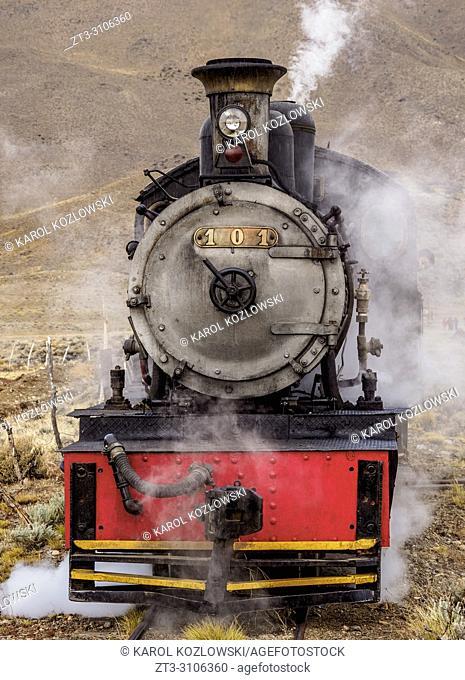 Old Patagonian Express La Trochita, steam train, Nahuel Pan Train Station, Chubut Province, Patagonia, Argentina