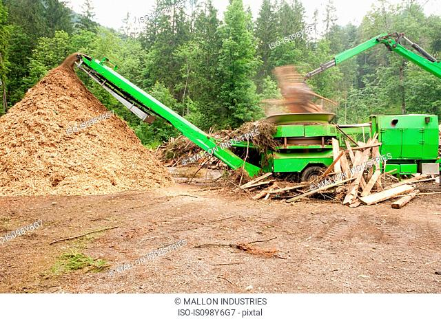 Pile of wood chippings and green truck