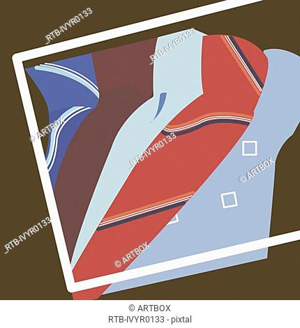 Close-up of neckties