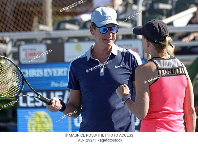 Carson Kressley getting some needed tennis advice from teammate Chris Evert on November 26, 2016 at the Chris Evert Pro-Celebrity Tennis Classic at the Delray...