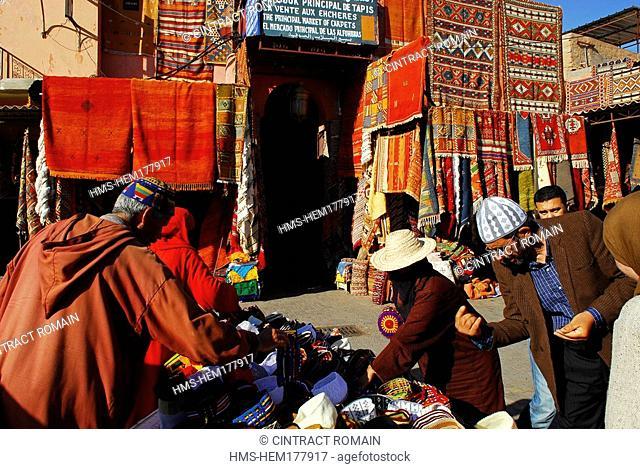 Morocco, High Atlas, Marrakesh, carpets souk