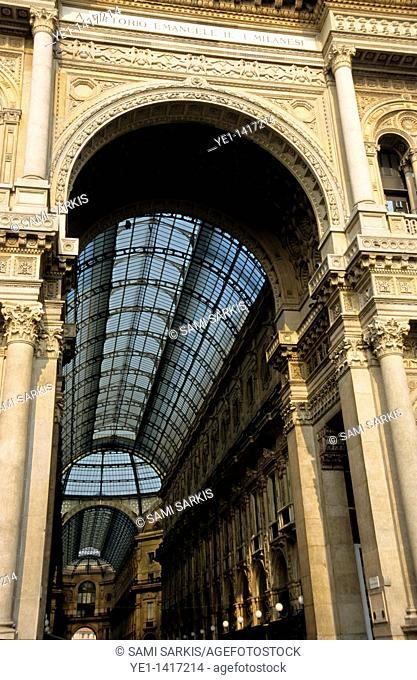 Entrance to the shopping arcade Galleria Vittorio Emanuele II, Milan, Italy