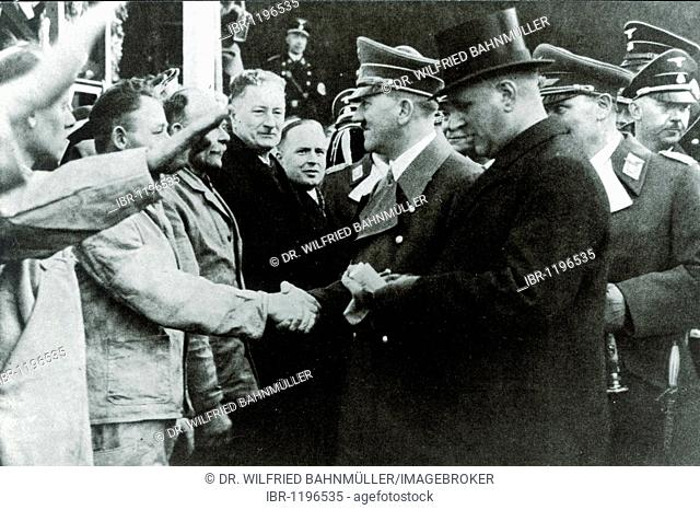 Adolf Hitler at the launch of the battleship Bismarck on February 14th 1939, Hamburg, German Reich, Europe, historical photo