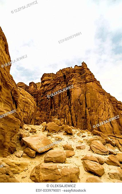 Beautiful red sandstone in the desert in Israel, Timna Park
