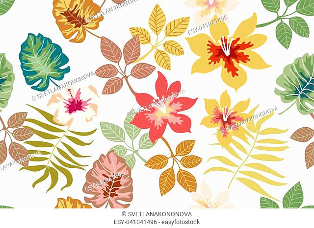 Seamless vector pattern with palm leaves and flowers