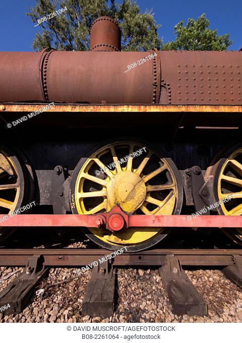 a derelict locomotive at Peak Rail Steam Railway at Matlock, Derbyshire, UK