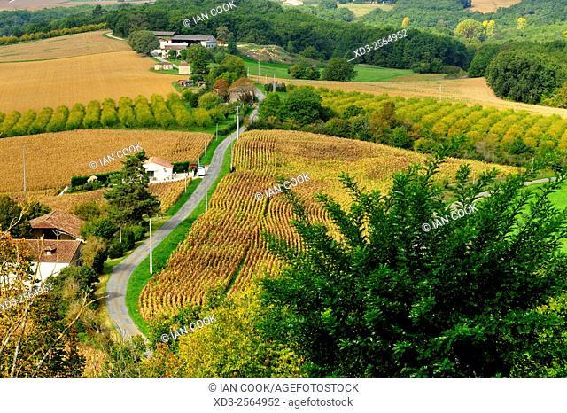 view west from Tournon d'Agenais, Lot-et-Garonne Department, Aquitaine, France