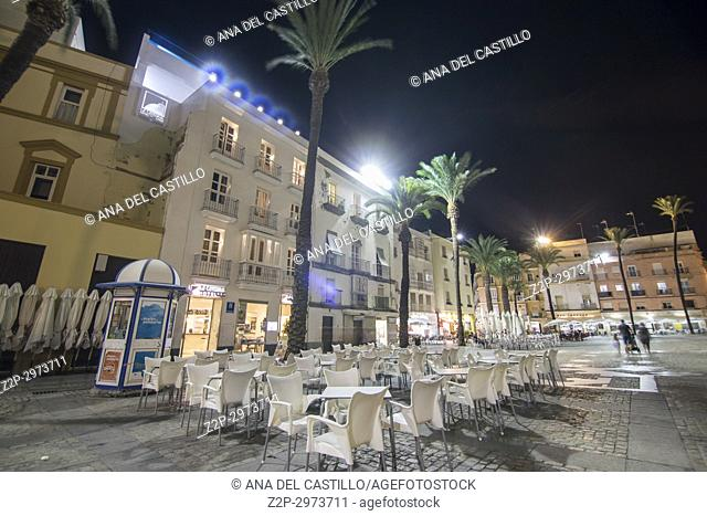 Cathedral square in Cadiz by night Andalusia, Spain