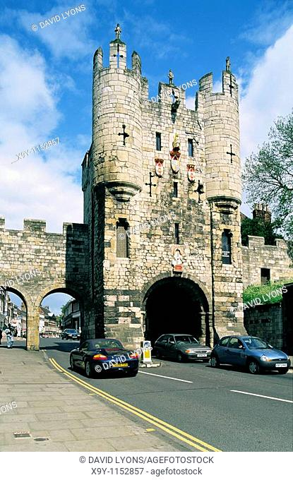 Micklegate ancient town gate on the southern side of York city walls  Yorkshire England, UK