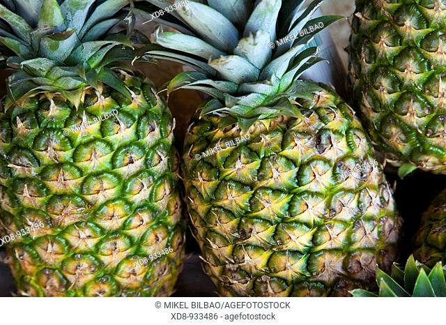 Pineapples Ananas comosus in a shop