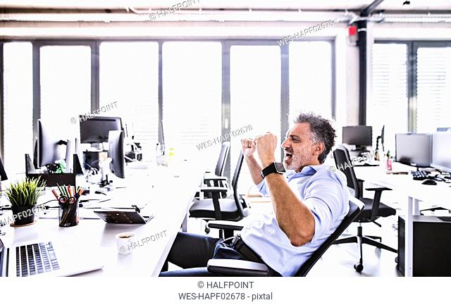 Happy mature businessman cheering at desk in office