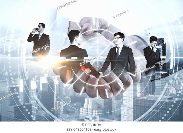 Close up of men shaking hands on city background with digital pattern. Business technologies concept. Double exposure