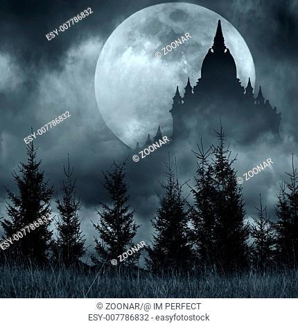 Magic castle silhouette over full moon