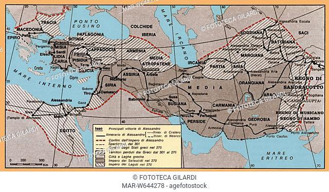 ALESSANDRO MAGNO (356-323 a.C.) Mappa storica con indicate le principali vittorie di Alessandro Magno i confini del suo Impero e i possedimenti dei territori...