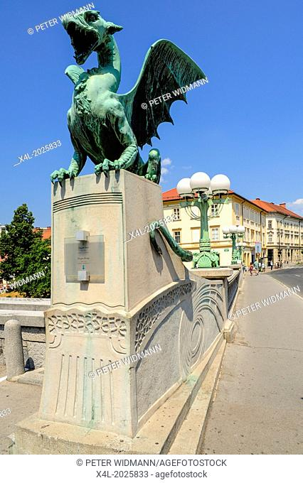 Ljubljana, old town, market place, Dragon Bridge, Zmajski most, 1900, 1901, Slovenia