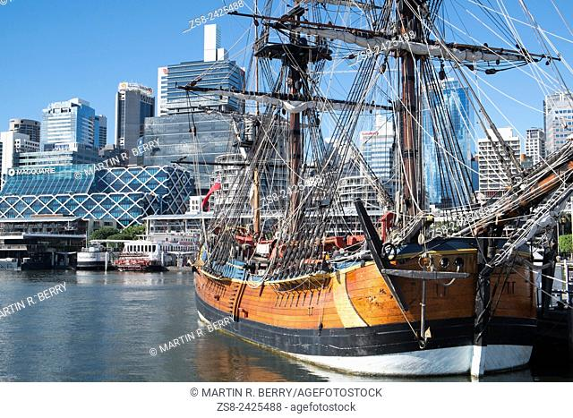 HM Bark Endeavour Replica Ship in Darling Harbour with Sydney city centre in the background
