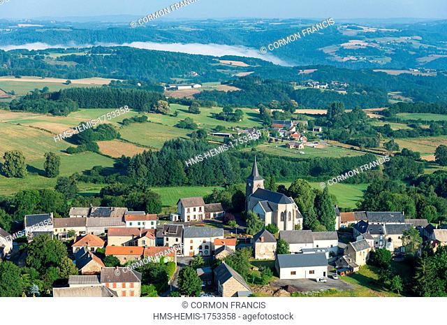 France, Puy de Dome, Saint Angel, Combrailles village (aerial view)