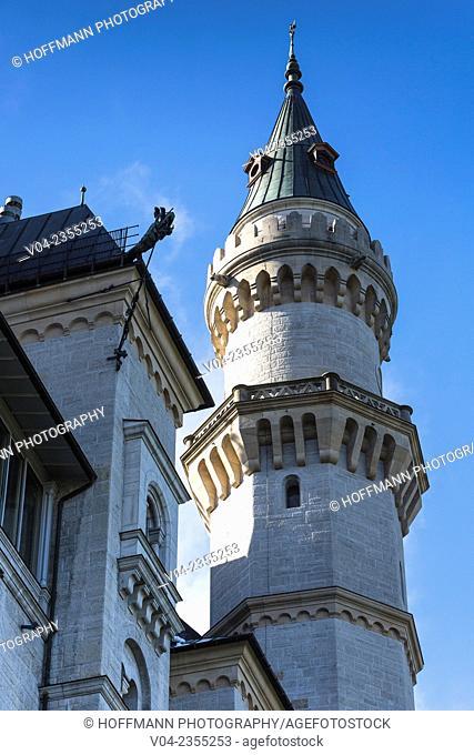 Famous Neuschwanstein Castle (New Swanstone Castle), Hohenschwangau, Bavaria, Germany, Europe