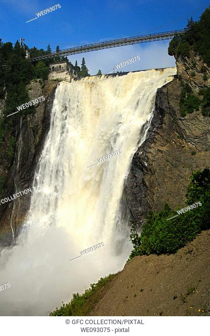 The natural spectacle of the Montmorency Falls, Beauport, Quebec City, Canada