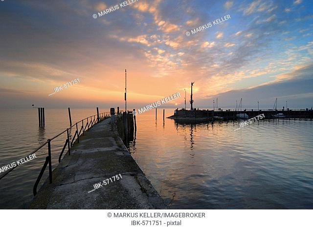 Meersburg - the harbour during the sunset - Baden Wuerttemberg, Germany Europe