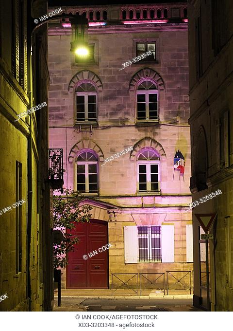 town hall at night, Bergerac, Dordogne Department, Nouvelle Aquitaine, France