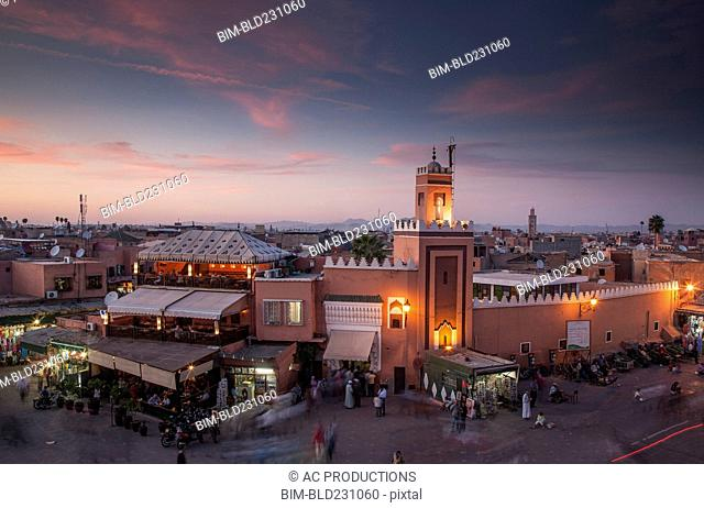 Crowd at night in Jamaa el Fna Square, Marrakesh, Morocco