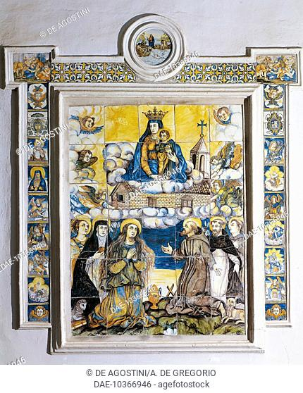 Altarpiece with the Holy House in Loreto (1647), by Francesco Grue, majolica, Church of St John the Baptist, Castelli, Abruzzo, Italy
