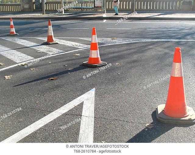Traffic cones, Lleida, Spain