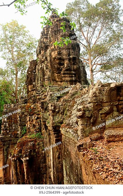 Buddha stone face at Bayon gate, Siem Reap, Cambodia