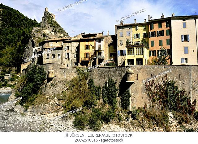 Narrow houses of Entrevaux at the bank of river Var, Alpes-de-Haute-Provence, French Alps, France