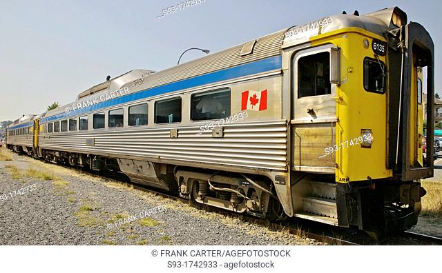 A view of the two car train that travels up and down Vancouver Island