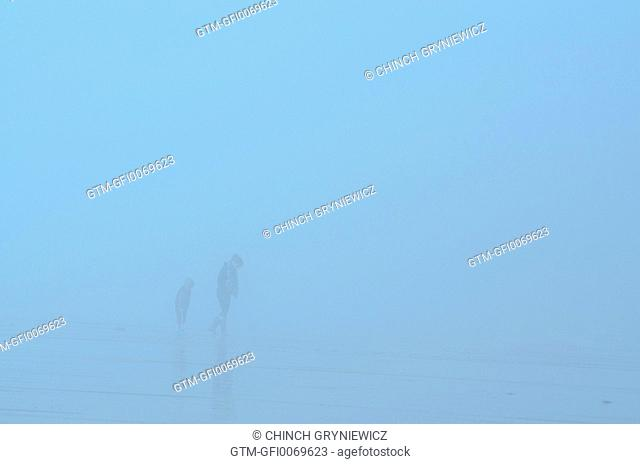 Adult and Child on Beach in Fog