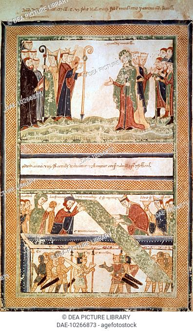 Matilda of Canossa meets the Bishop of Modena, Matilda of Canossa assists in the identification of the body of Saint Geminianus